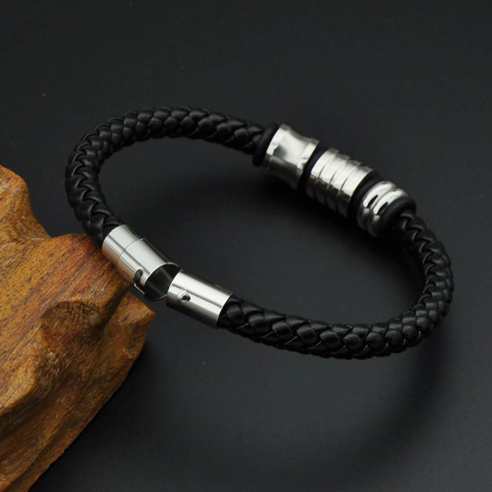 Mens Black Genuine Leather Woven Stainless Steel Fashion Bracelet