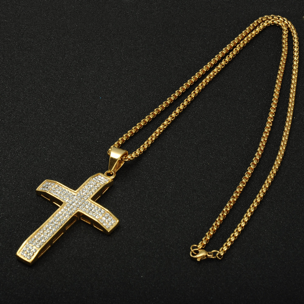 Hip Hop 3 Row Lab Diamond 14k Gold Stainless Steel Cross Pendant Necklace