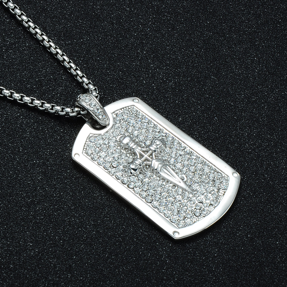 Full AAA Simulated Diamond Square Dagger Cross Pendant