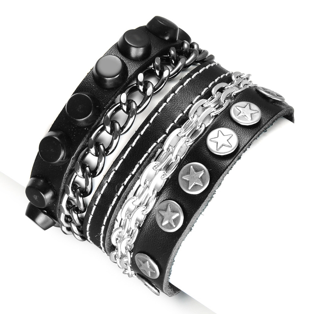 Mens Hip Hop Rocker Style Unique Superstar Metal Chain Leather Pharaoh Bracelet
