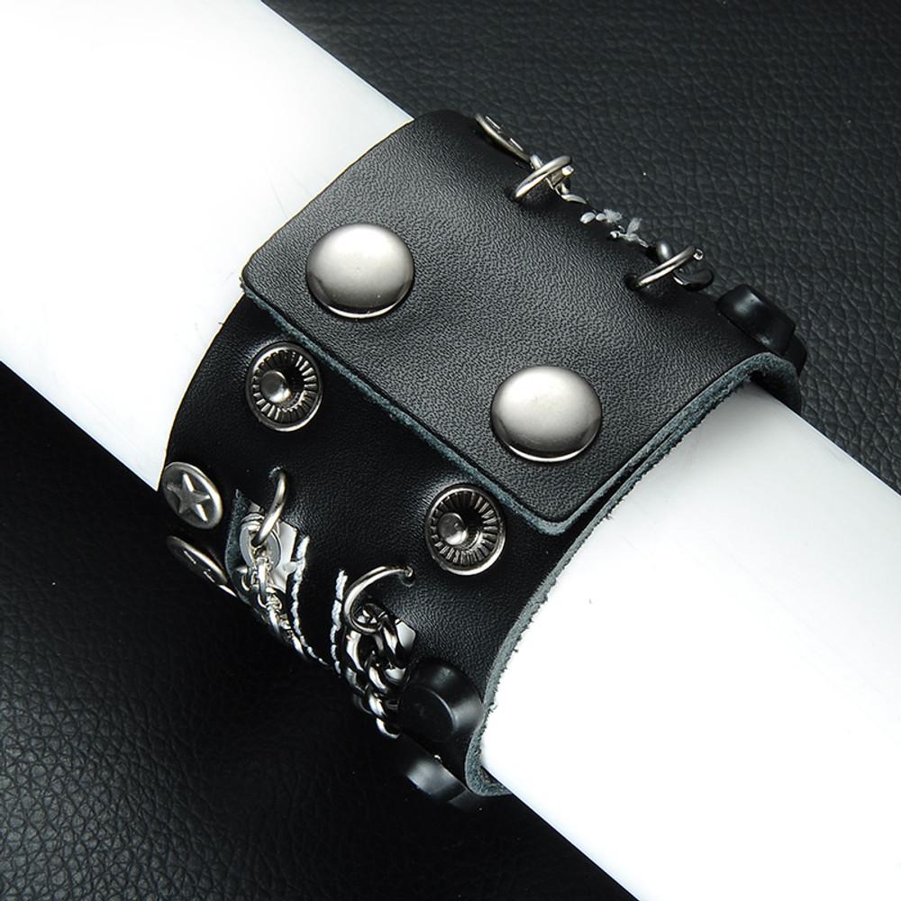 Mens Hip Hop Rocker Style Unique Superstar Metal Chain Leather Pharaoh Bracelet