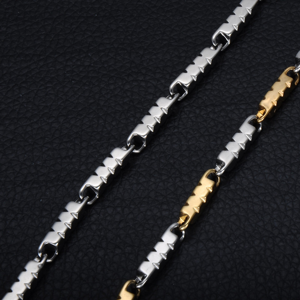 Hip Hop 14 Gold Silver 4MM Triangle Aberdeen Stainless Steel Chain Necklace