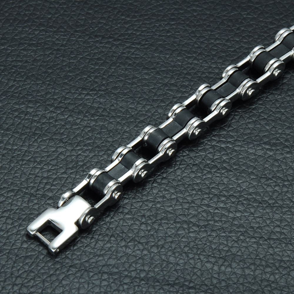 Mens 316L Stainless Steel Biker Bicycle Motorcycle Chain Bracelet