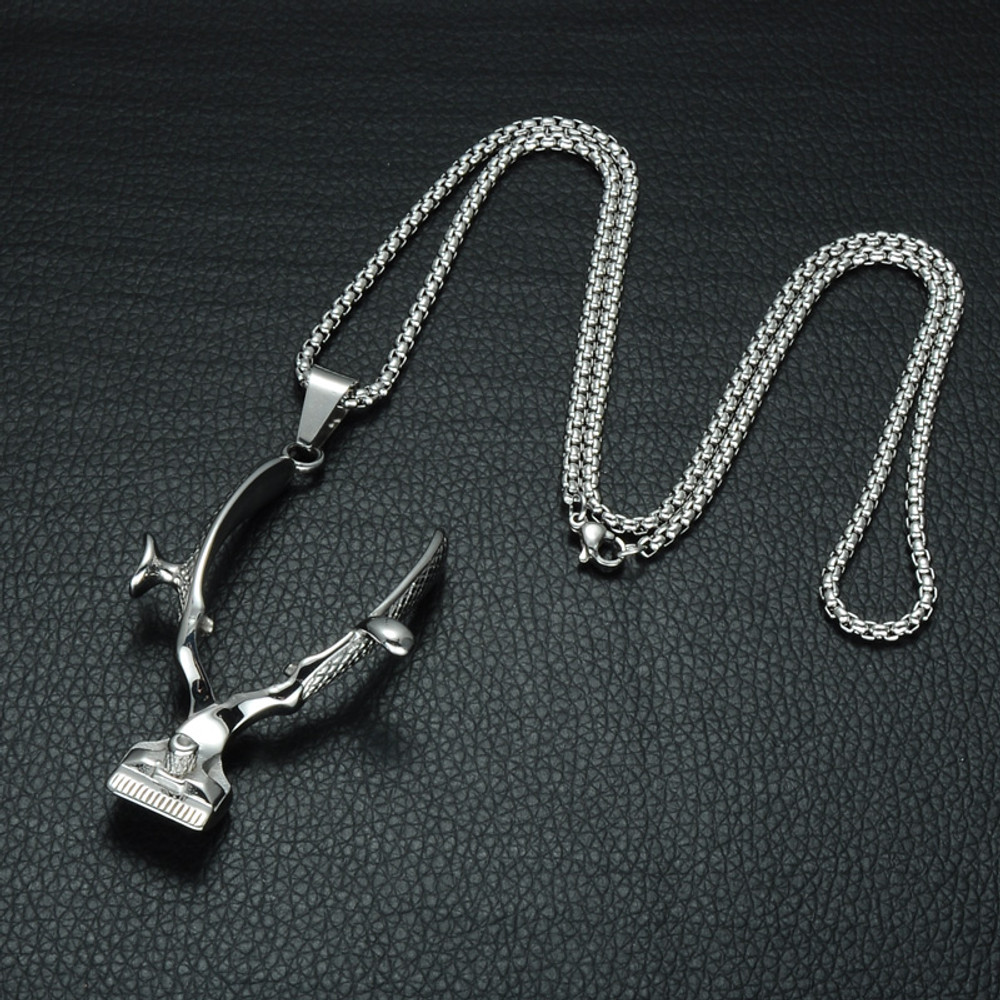 Hip Hop Old School Barber Haircut Clippers Stainless Steel Chain Pendant