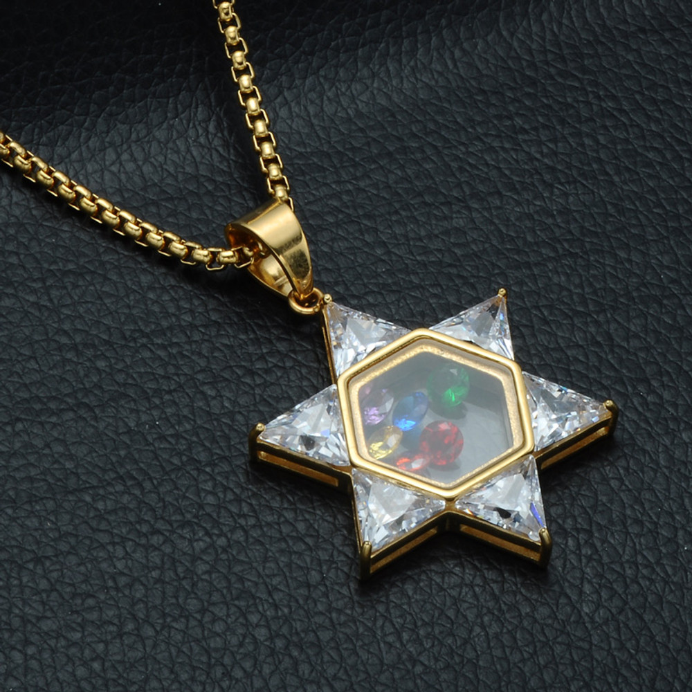 """24/"""" Stainless Steel Gold Iced Out Jewish Star of David Pendant Necklace Chain"""
