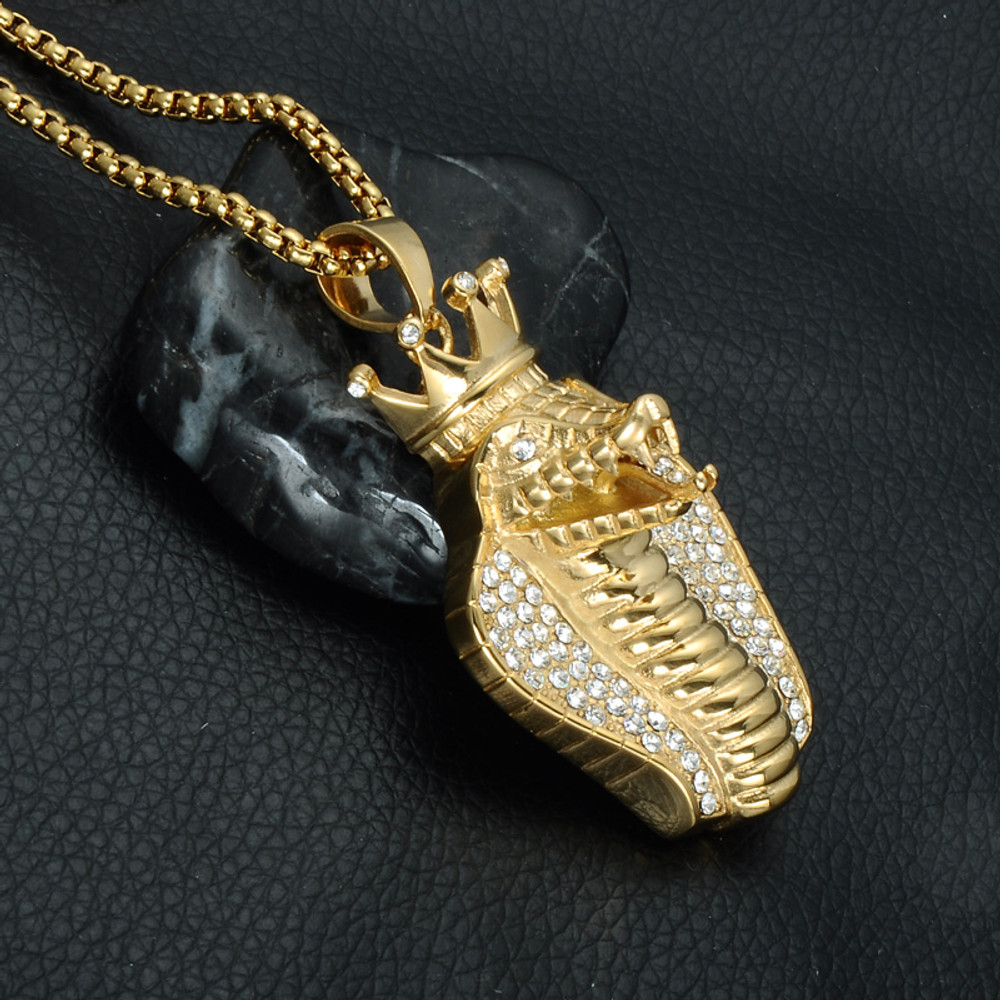 Iced Out Bling Stainless Steel Simulated Diamond Crown King Cobra Snake Pendant