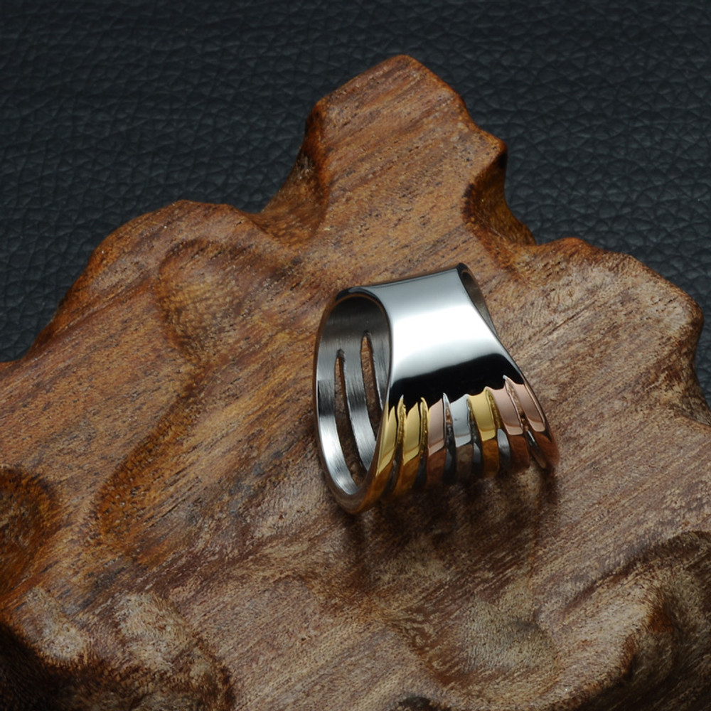 Ladies Rose Gold Silver Wide Line Titanium Stainless Steel Rings
