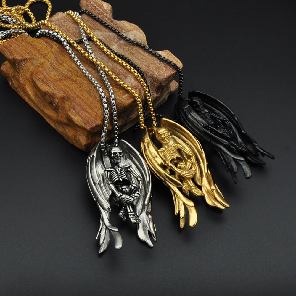 14k Gold Stainless Steel Wings Skeleton Skull Bone Chain Pendant