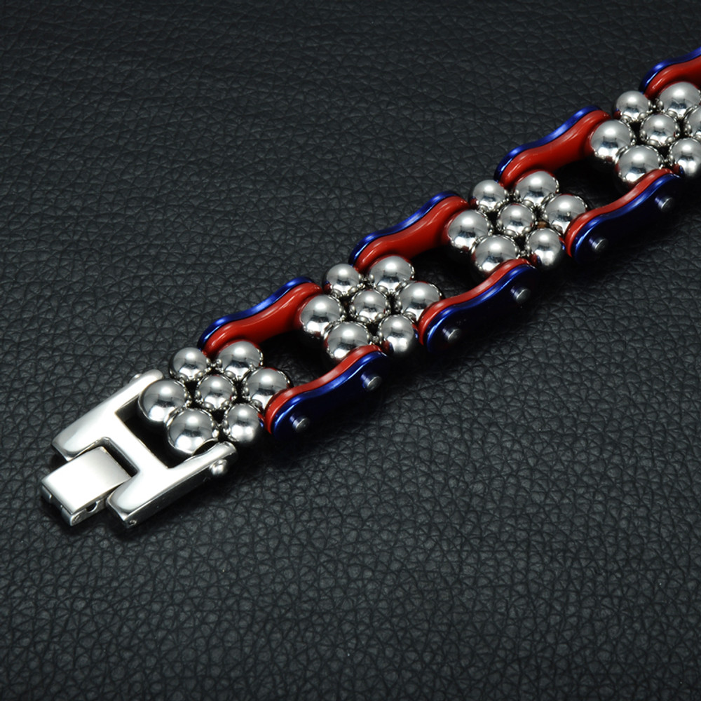Mens 316L Stainless Steel Bead Bicycle Motorcycle Chain Bracelet