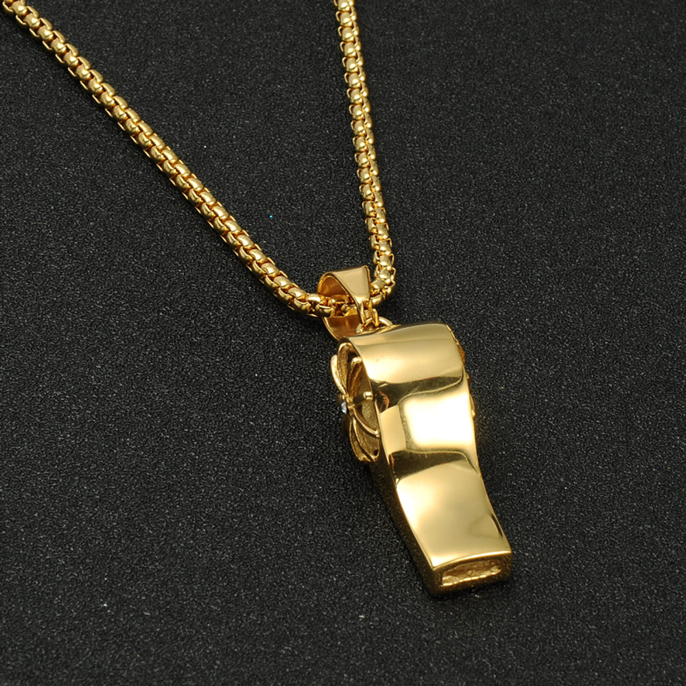 14k Gold Iced Out Simulated Diamond Titanium Stainless Steel Whistle Pendant