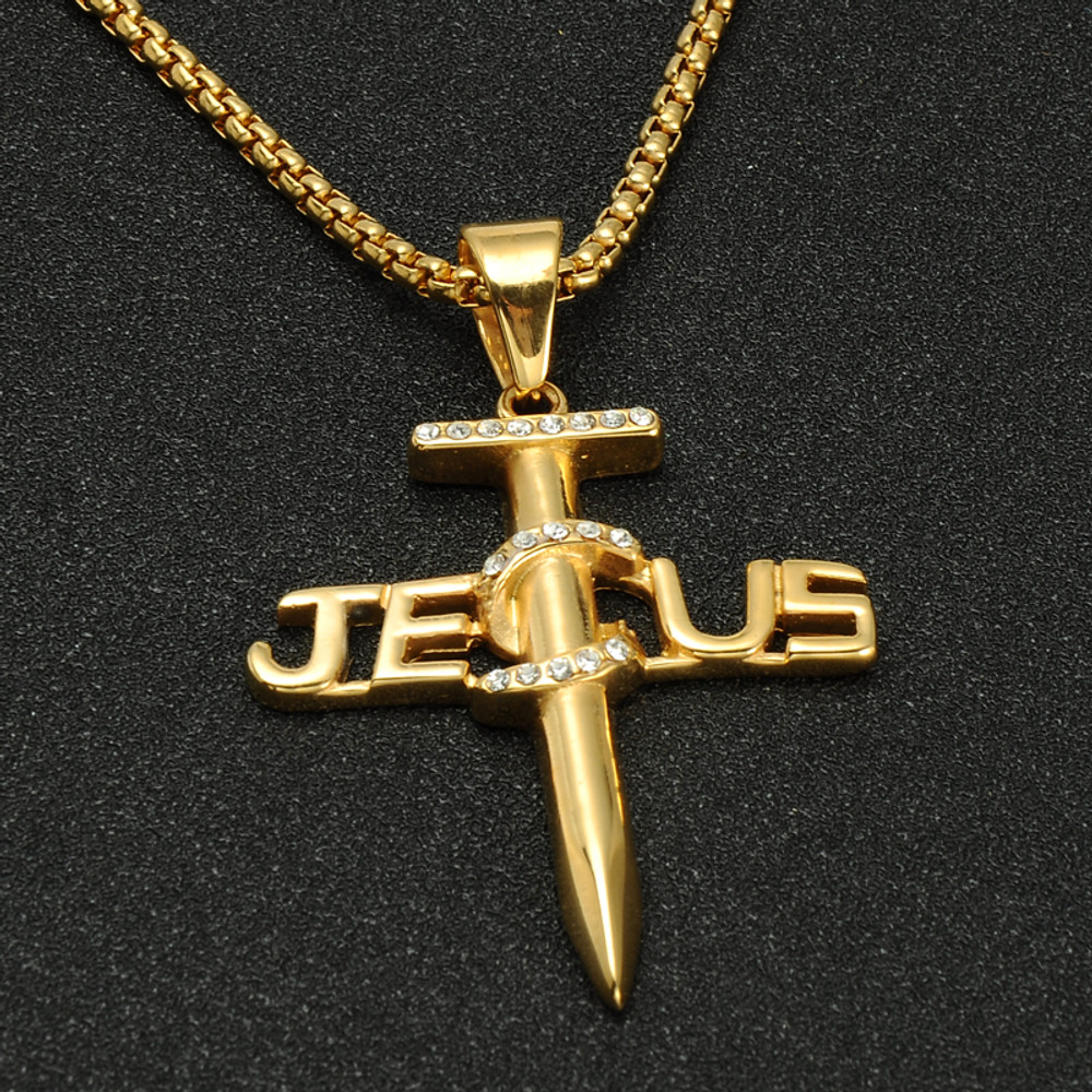 14k Gold Hip Hop Jewelry Iced Out Titanium Stainless Jesus Nail Cross Pendant