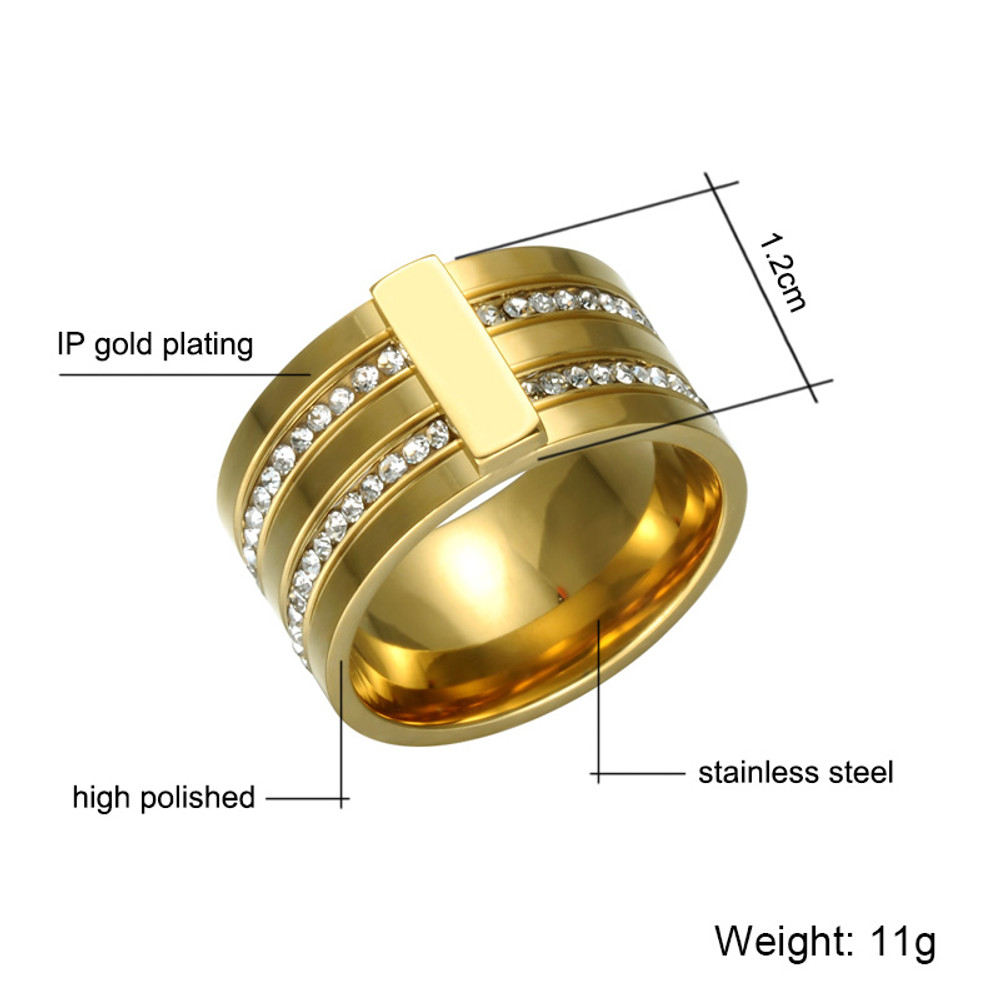 Mens Hip Hop Luxury 2 Rows Simulated Diamond Paved Rose Gold Iced Out Ring