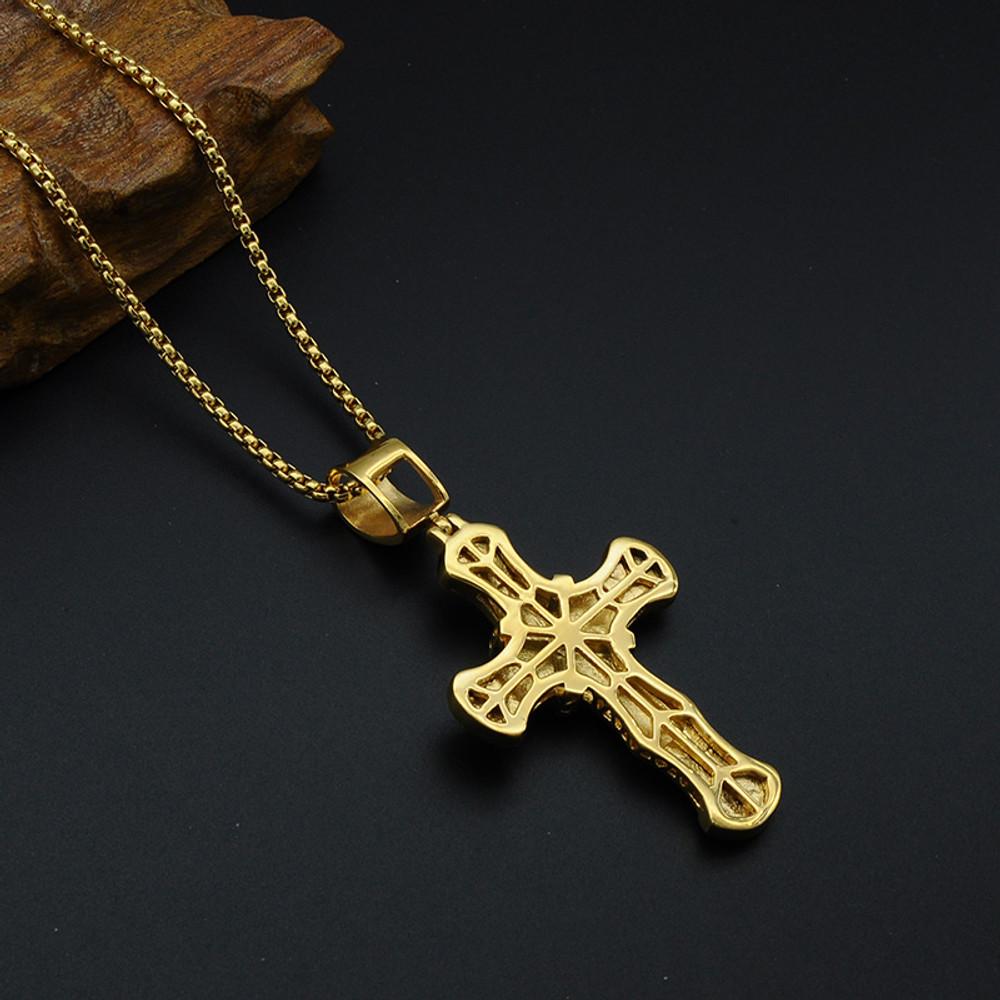 Hip Hop Micro Pave Full Lab Diamond 14k Gold Stainless Steel Ribbon Cross Pendant