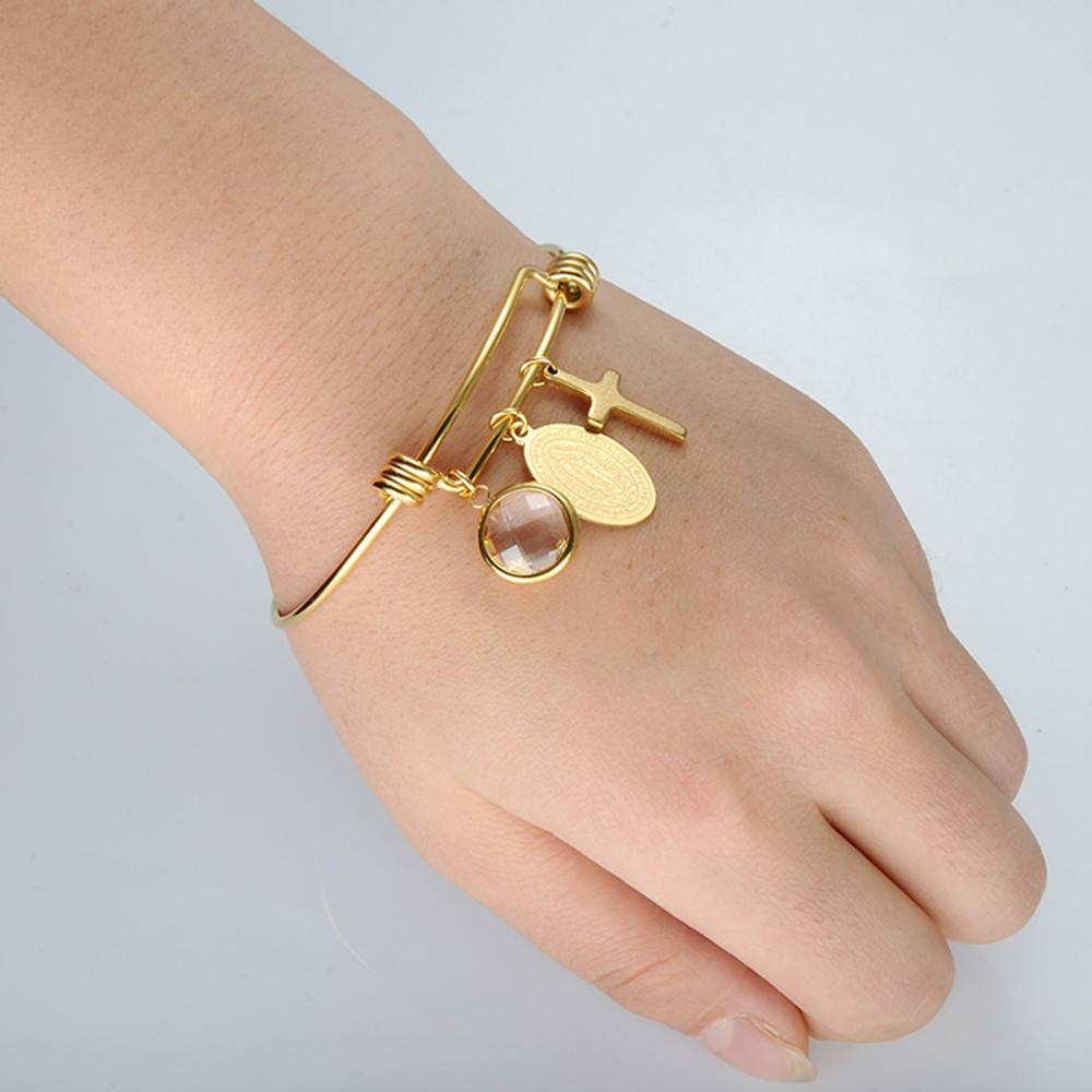 14k Gold Ladies Virgin Mary Stainless Steel Prayer Cross Bracelet