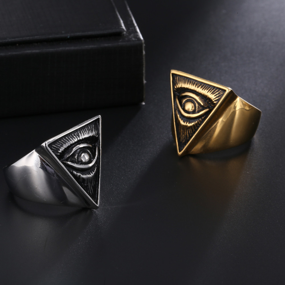 Hip Hop Illuminati Pyramid Eye 14k Gold Silver Titanium Stainless Steel Triangle Ring