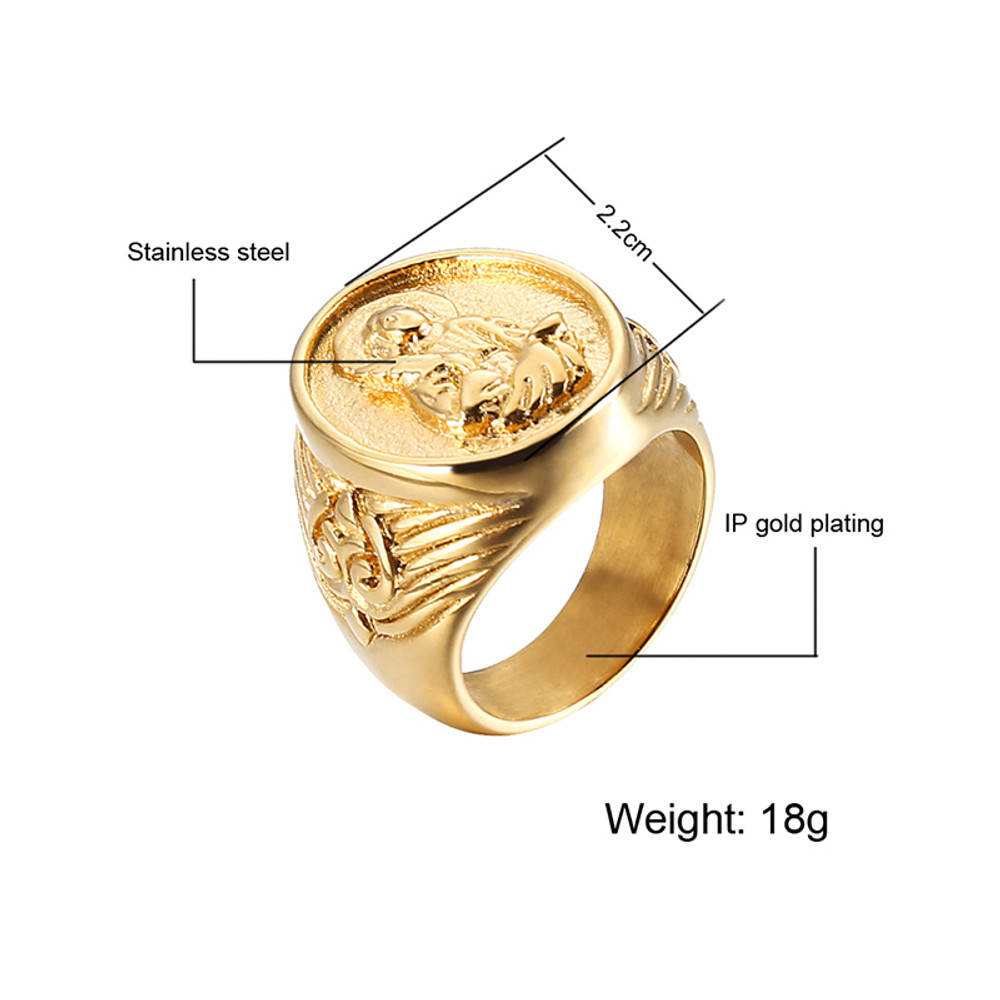 Benevolent Virgin Mary 14k Gold Titanium Stainless Steel Ring