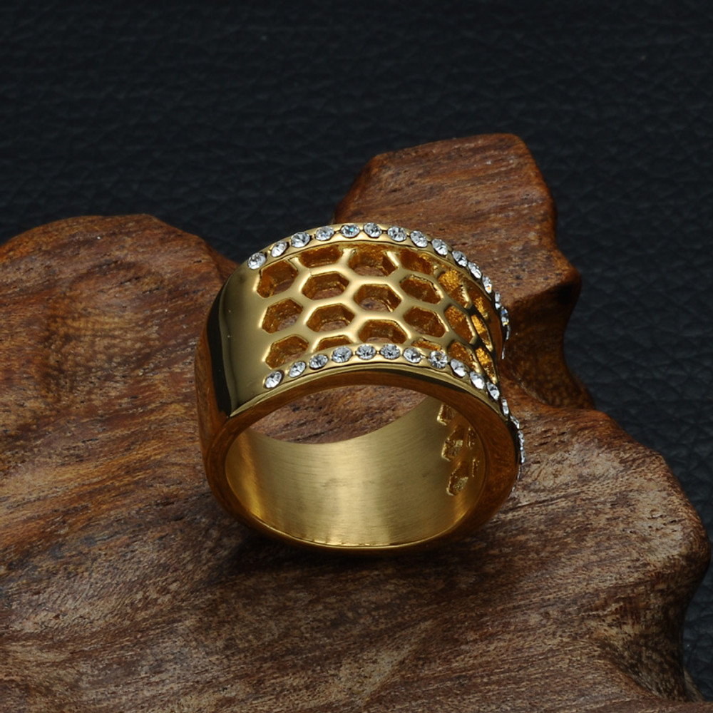 14k Gold Two Row Crystal Pave Womens Round Bling Iced Out Party Ring