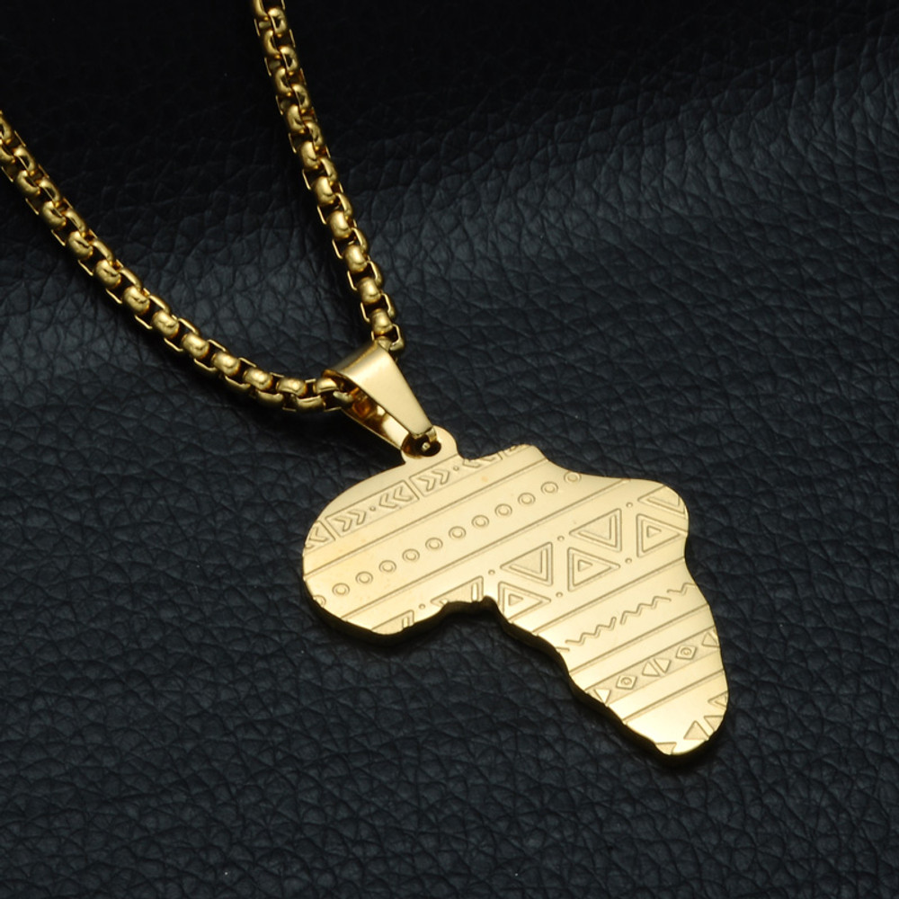 14k Gold Silver Stainless Steel Ancient Tribal Mother Africa Map Chain Pendant