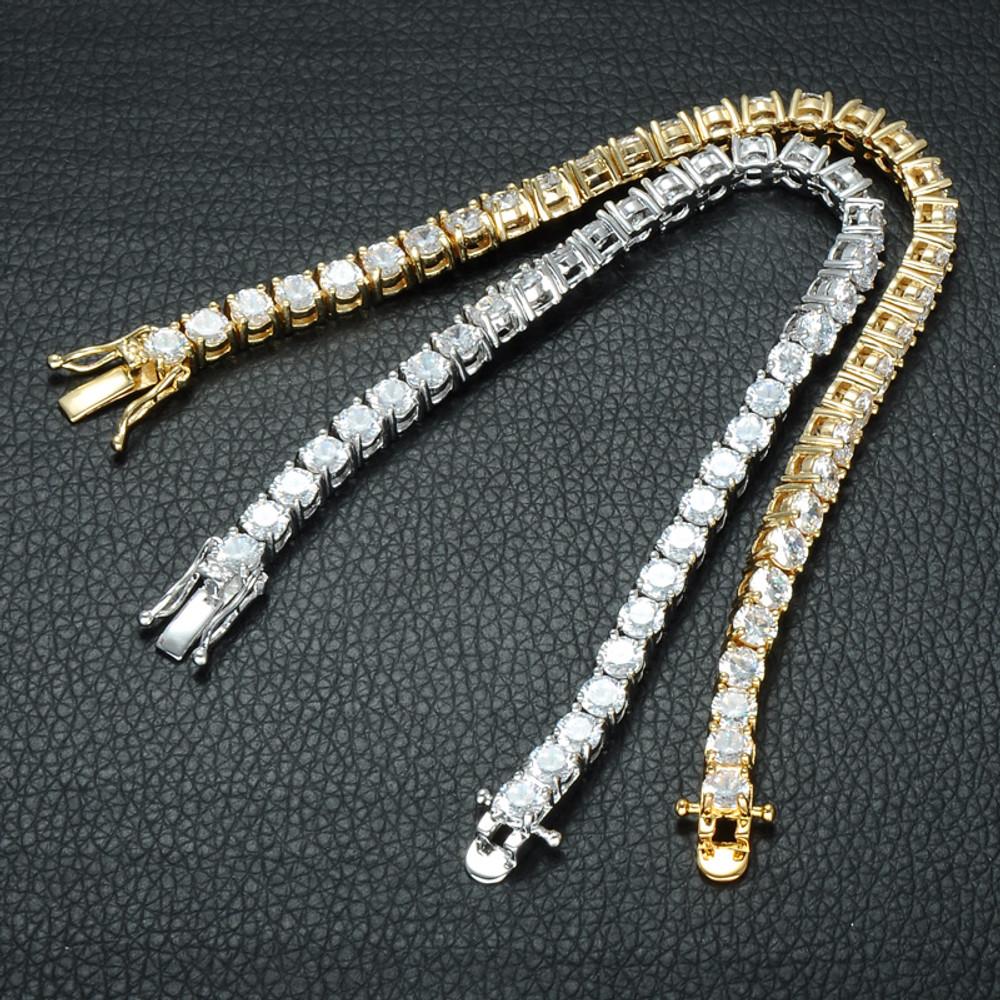 Mens Hip Hop Simulated Diamond 1 Row Tennis Chain Bracelet 14k Gold Silver