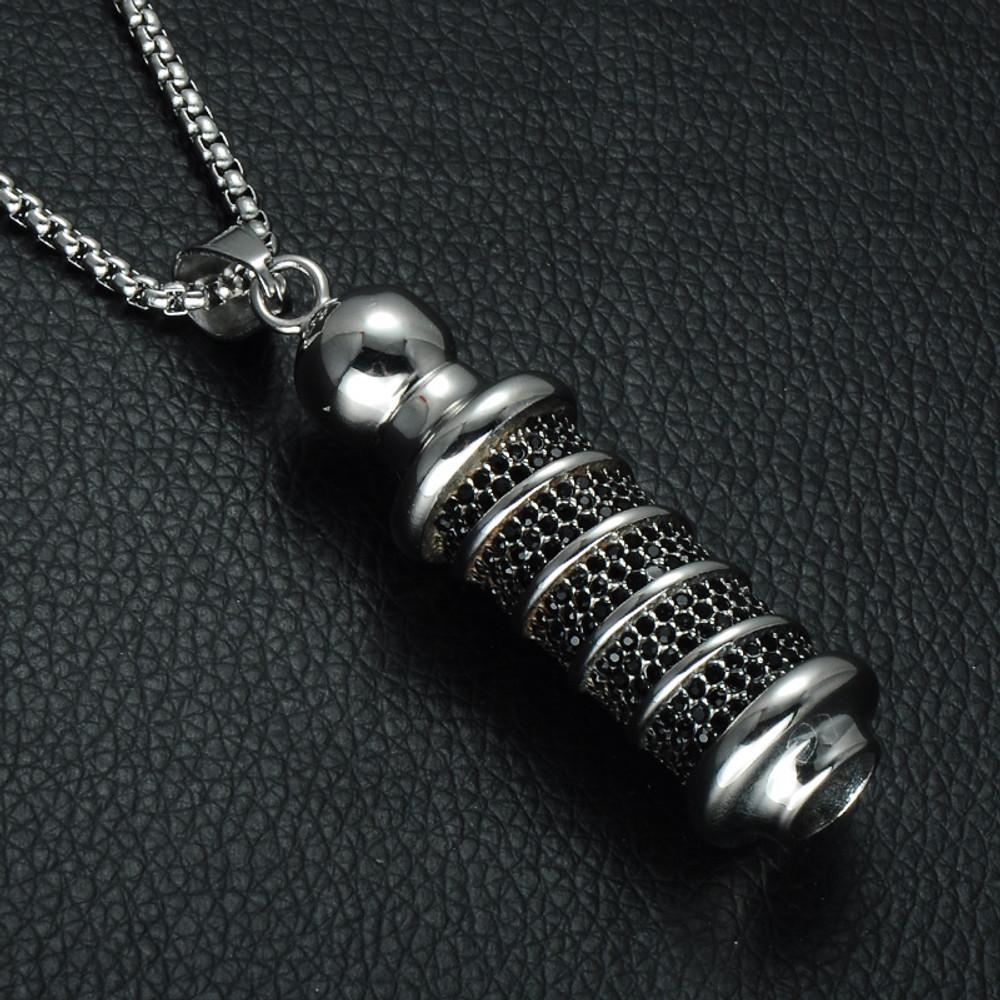 Black Simulated Diamond Titanium Stainless Steel Tibetan Buddhism Prayer Chain Pendant