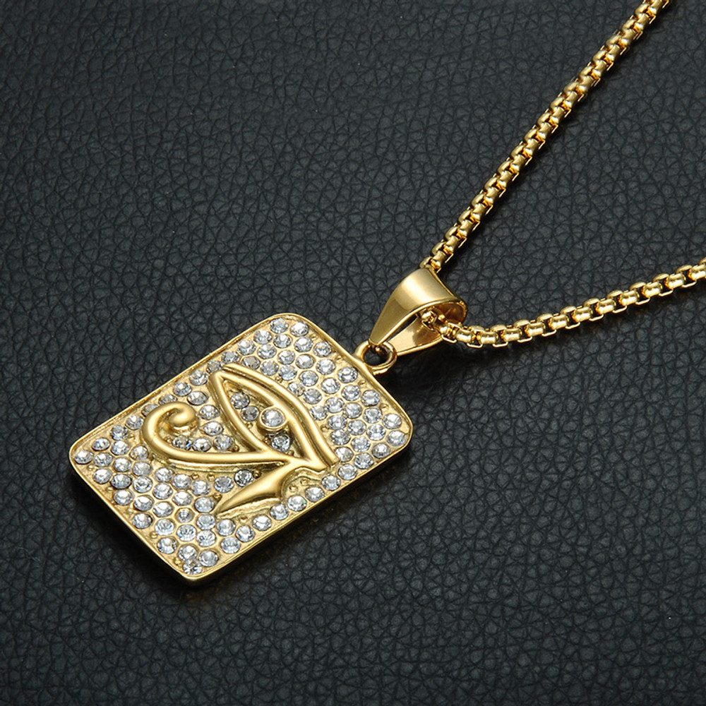 14k Gold Stainless Steel Bling Hip Hop Lab Diamond Eye of Horus Pendant Dog Tag Chain Pendant