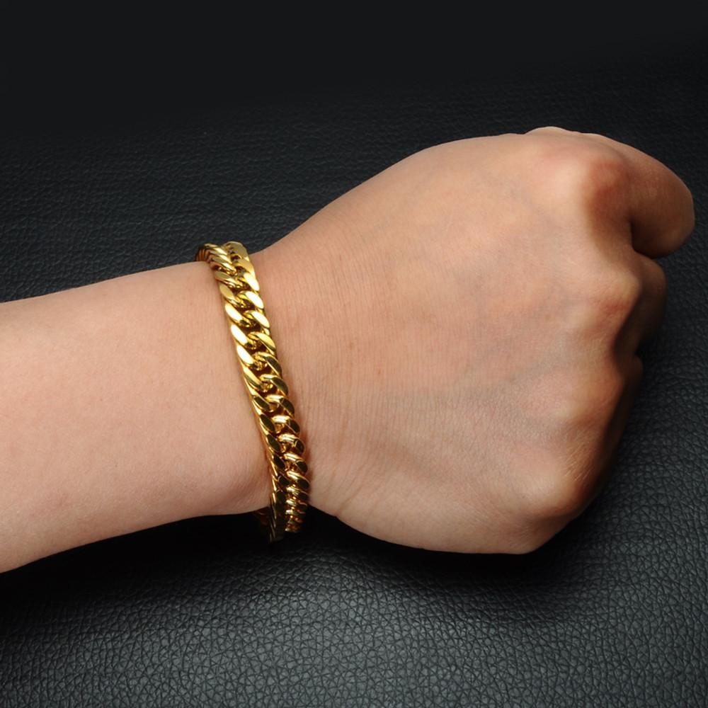 Hip Hop Heavy Double Layer Stainless Steel Miami Cuban Link 14k Gold Bracelet