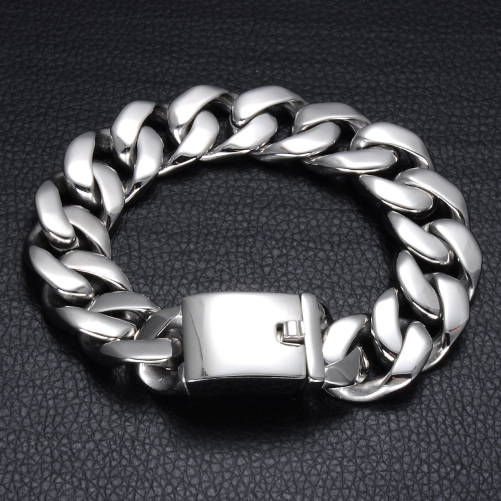 Mens 17MM Silver 316L Stainless Steel Curb Cuban Link Chain Bracelet