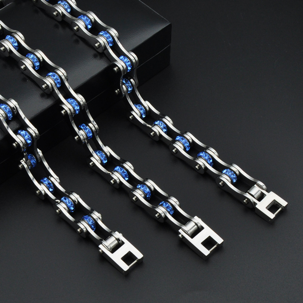 Blue Crystal Motorcycle Stainless Steel Link Chain Biker Bicycle Bracelet