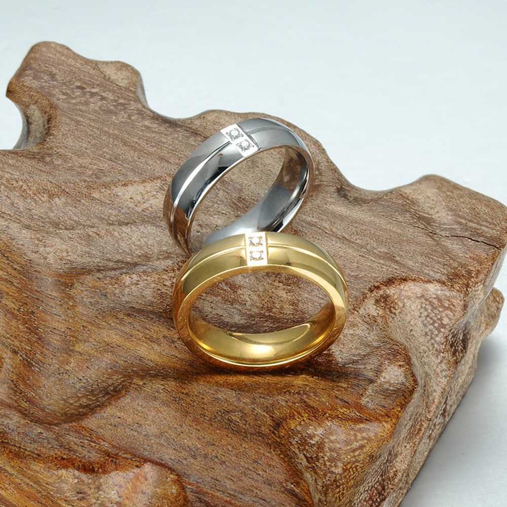 Double Simulated Diamond Layer High Polished Gold Silver Stainless Steel Ring