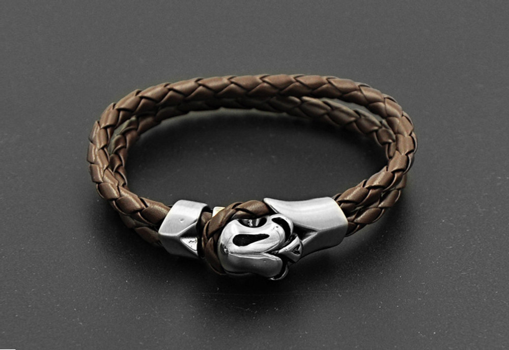 Mens Hand Made Double Layer Leather Brown Casual Flair Bracelet