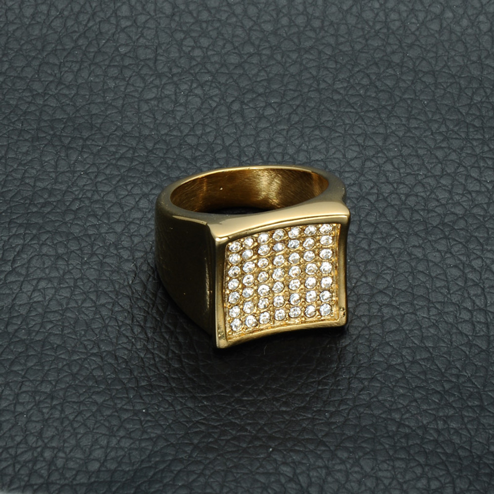 Mens Iced Out Micro Pave Lab Diamond Bling Square 14k Gold Titanium Stainless Steel Ring