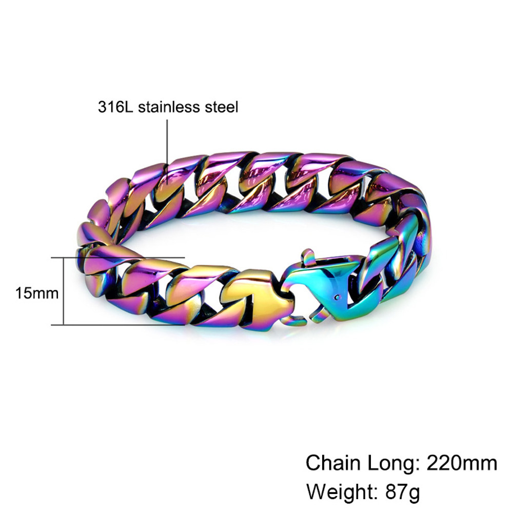 Mens Hip Hop 316L Stainless Steel Colorful Unique Curb Cuban Link Chain Bracelet