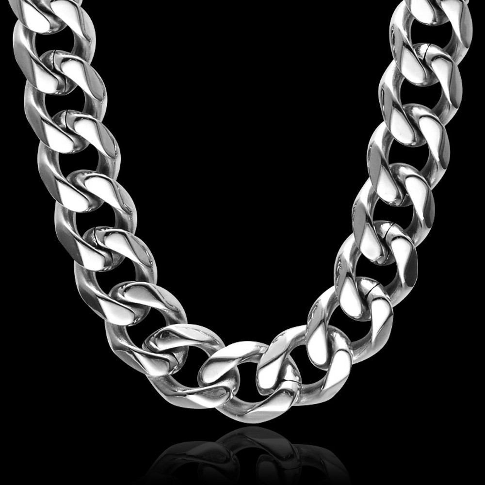 Hip Hop 24 INCH 13MM Silver Titanium Stainless Steel No Fade Curb Cuban Link Chain Necklace