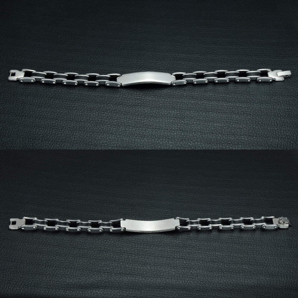 Mens Bicycle Motorcycle Silver 316L No Fade Stainless Steel ID Bracelet