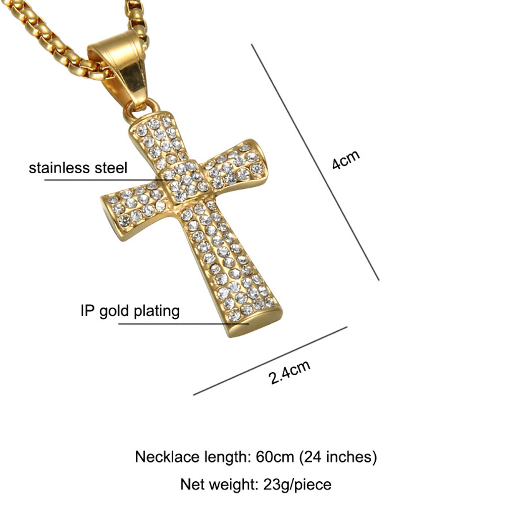 Bling Bling Micro Pave 14k Gold Stainless Steel Center Square Hip Hop Cross Chain Pendant