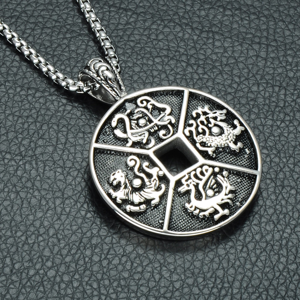 Four Ancient Mythical Beasts of China Patron Saint 316L Stainless Steel Chain Pendant Necklace