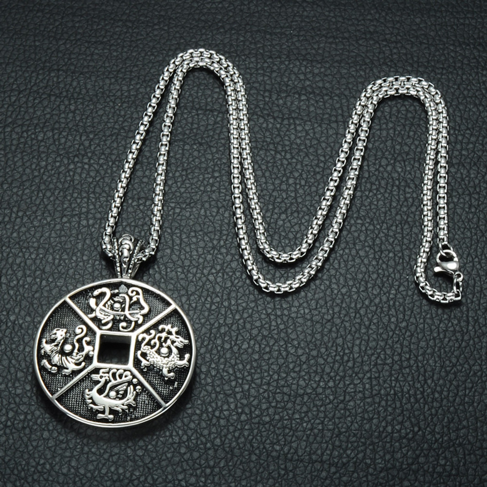Four Ancient Mythical Beasts of China Patron Saint 316L Stainless Steel Chain Necklace