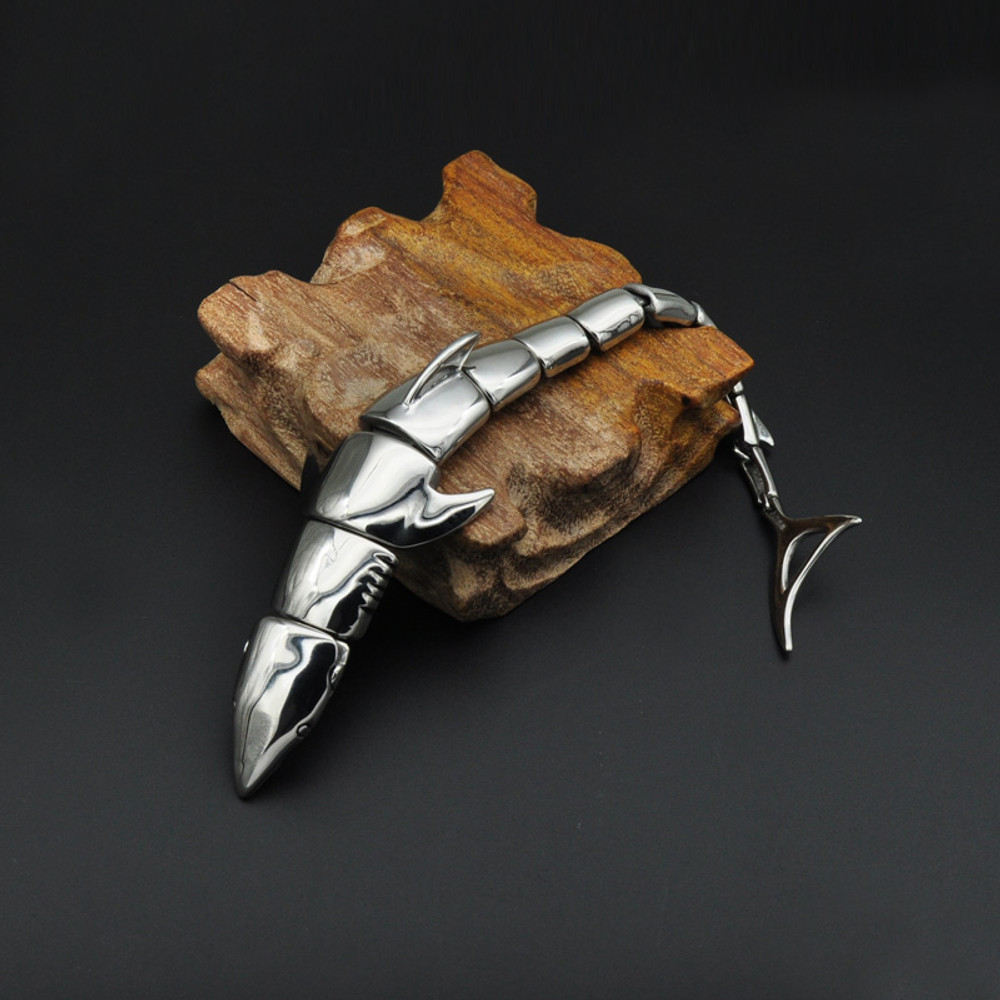 Mens Alpha 316L Stainless Steel White Shark Bracelet