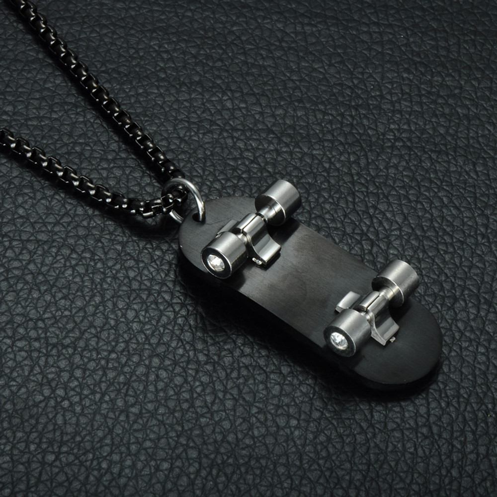 Black Stainless Steel Skateboard Bible Cross Lords Prayer Skater Chain Pendant