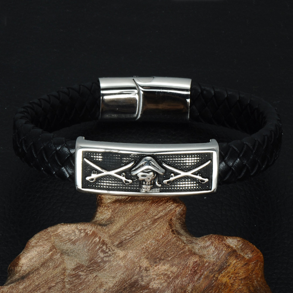 Mens Money Treasure Hunter Pirate Skull Black Braided Genuine Leather Magnetic Buckle Bracelet