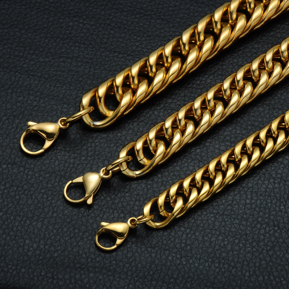 Mens Double Layer 14k Gold Miami Cuban Link Stainless Steel Chain Bracelet