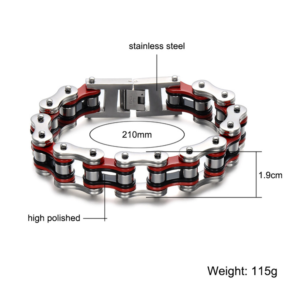 19MM Thick Heavy Mens Titanium Stainless Steel Bicycle Motorcycle Link Chain Bracelet