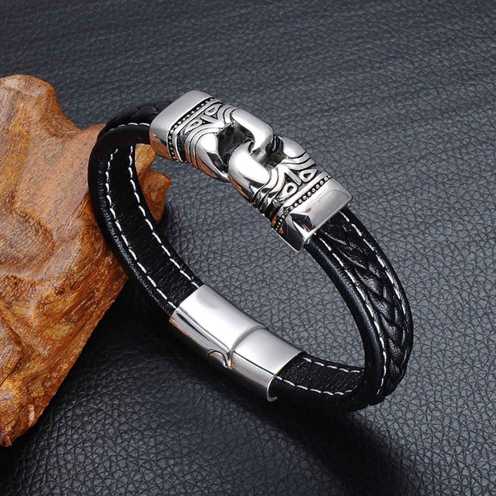 Mens Black Genuine Leather Stainless Steel Tribal Clasp Magnet Lock Bracelet