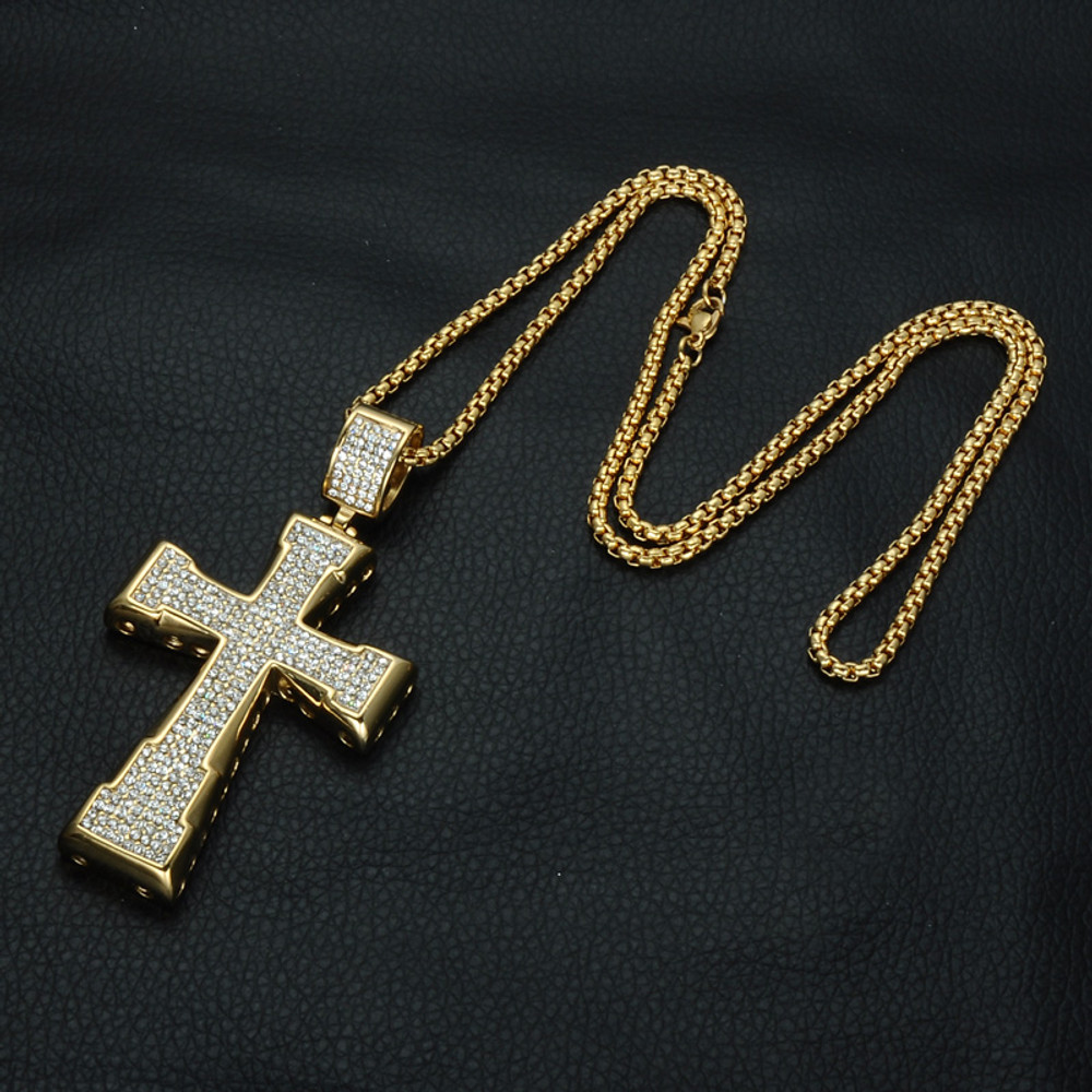 Hip Hop Micro Pave Lab Diamond 14k Gold Titanium Stainless Steel Cross Pendant Chain Necklace
