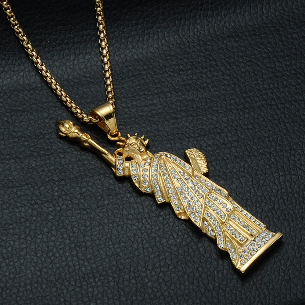 14k Gold Hip Hop Bling Iced Out Lab Diamond New York Statue of Liberty Chain Pendant Necklace
