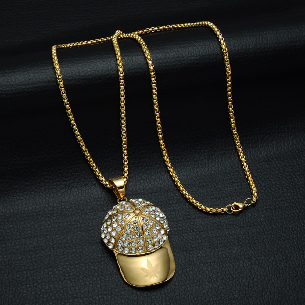 14k Gold Titanium Stainless Steel Weed Leaf Hat Pendant Chain Necklace