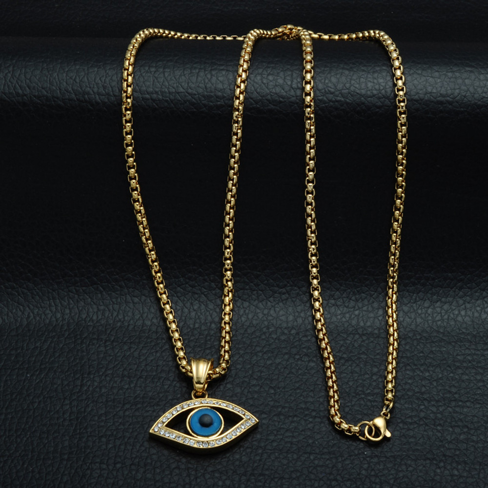 14k Gold Natural Stone All Seeing Evil Eye Stainless Steel Pendant Chain Necklace