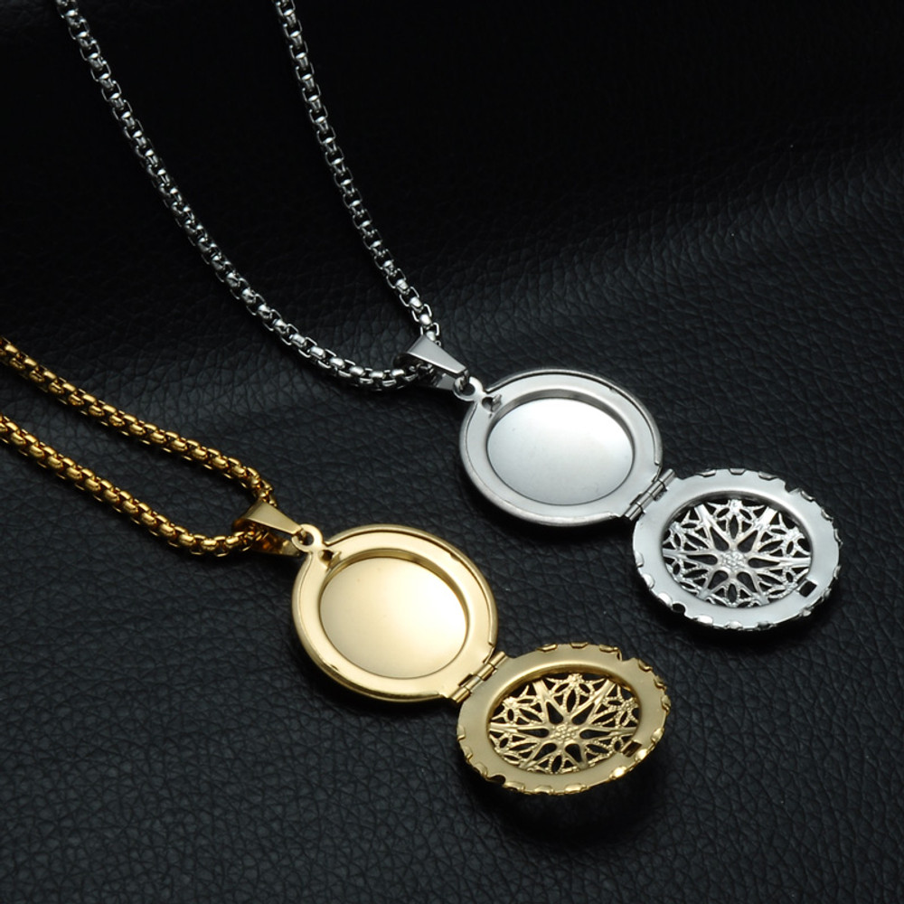 14k Gold Silver Stainless Steel Hollow Round Open Locket Photo Frame Chain Necklace