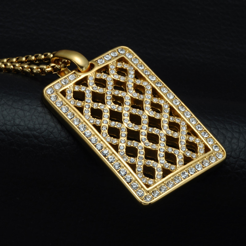 14k Gold Iced Out Lab Diamond Mesh Cut Stainless Steel Dog Tag Pendant Chain Necklace