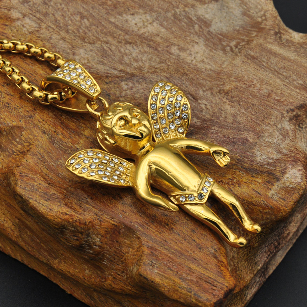 14k Gold Stainless Steel Iced Out Mirco Pave Lab Diamond Angel Cherub Pendant
